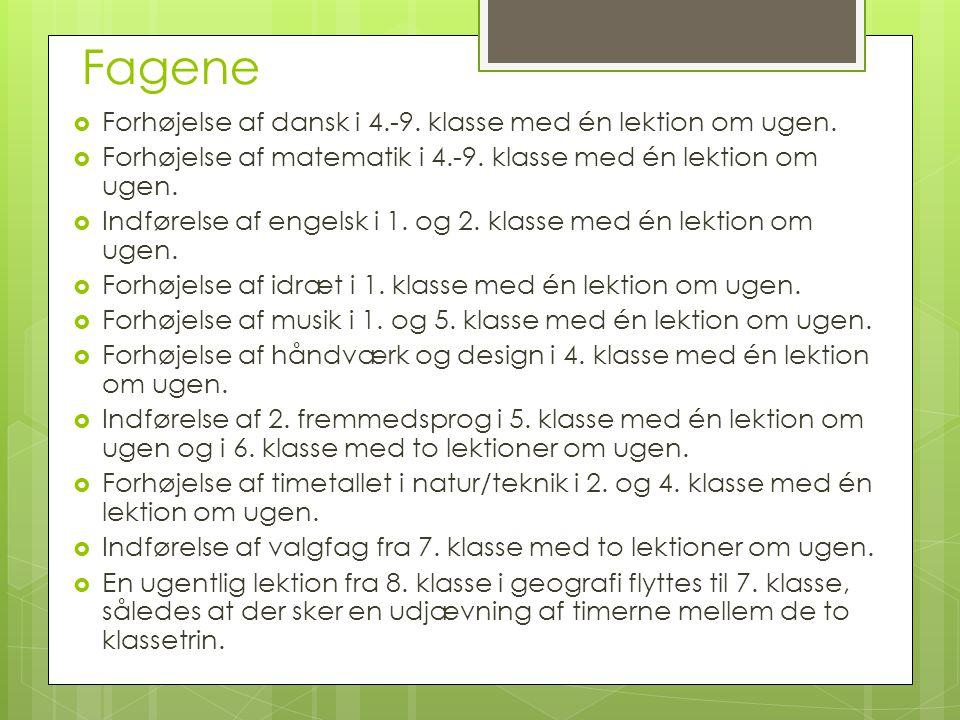 Fagene Forhøjelse af dansk i 4.-9. klasse med én lektion om ugen.