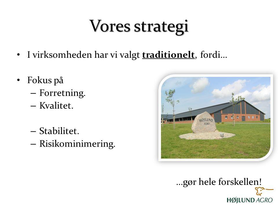 Vores strategi I virksomheden har vi valgt traditionelt, fordi...