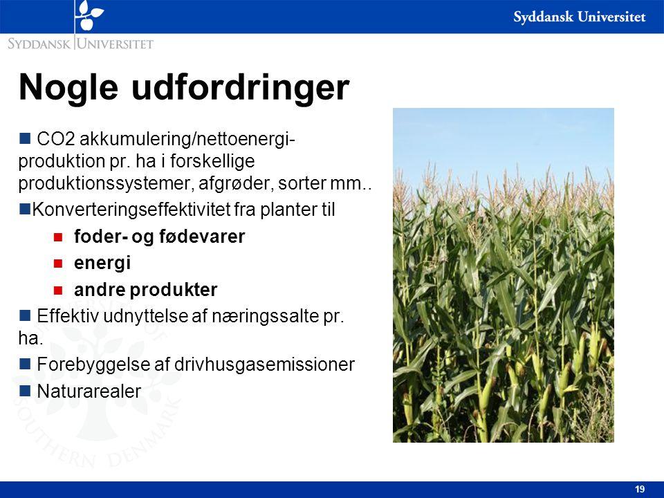 Nogle udfordringer CO2 akkumulering/nettoenergi-produktion pr. ha i forskellige produktionssystemer, afgrøder, sorter mm..