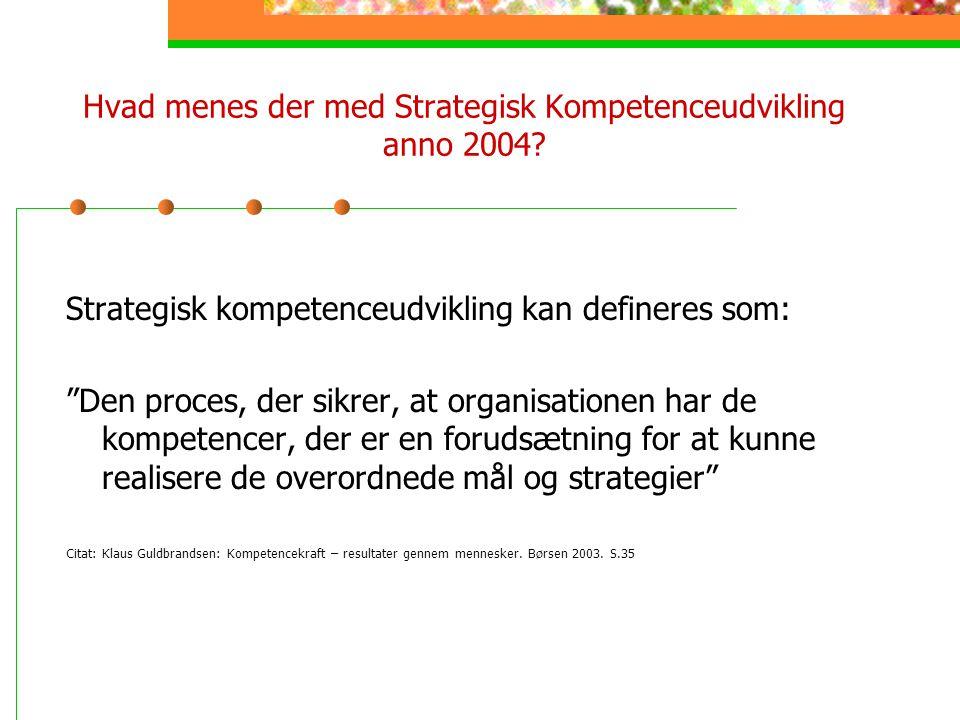 Hvad menes der med Strategisk Kompetenceudvikling anno 2004
