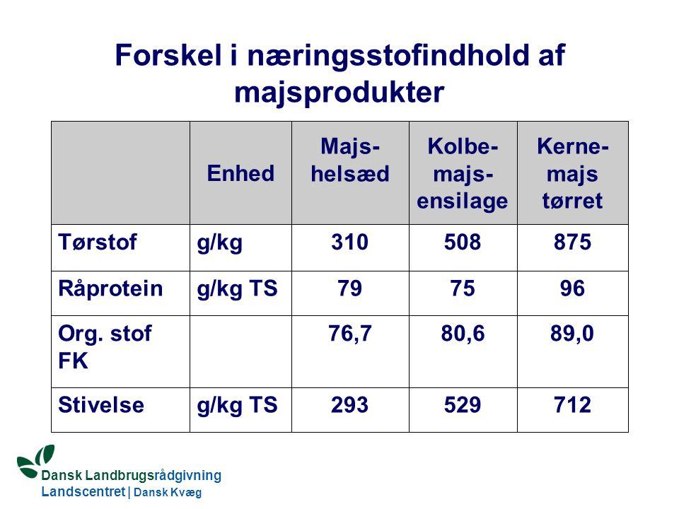 Forskel i næringsstofindhold af majsprodukter