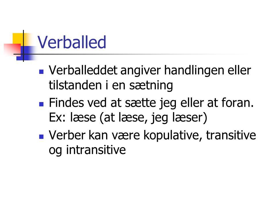 Verballed Verballeddet angiver handlingen eller tilstanden i en sætning. Findes ved at sætte jeg eller at foran. Ex: læse (at læse, jeg læser)