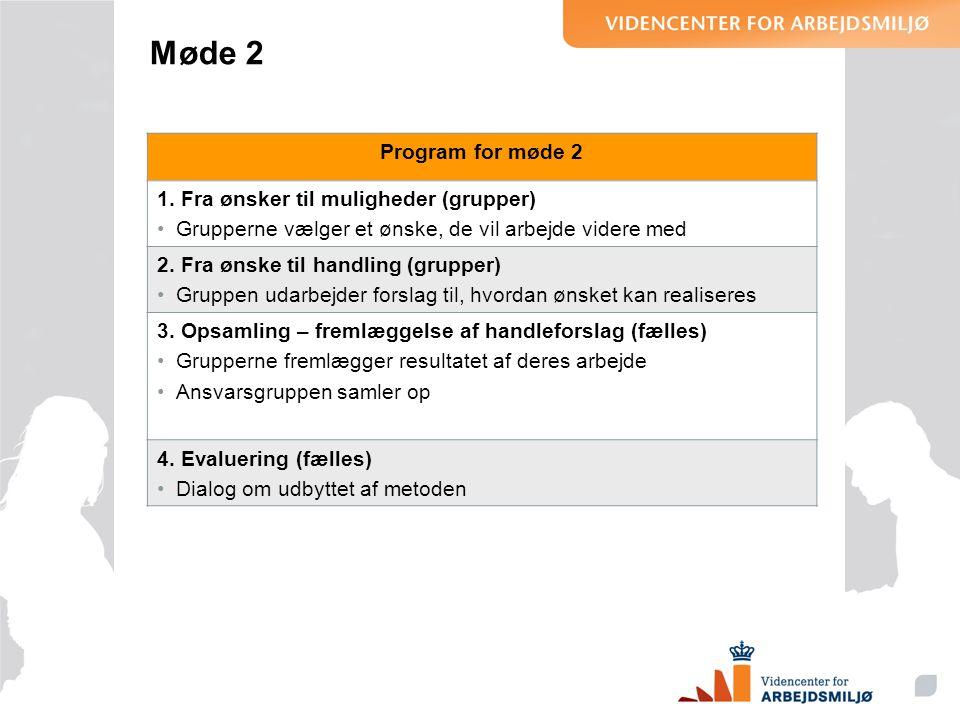 Møde 2 Program for møde 2 1. Fra ønsker til muligheder (grupper)