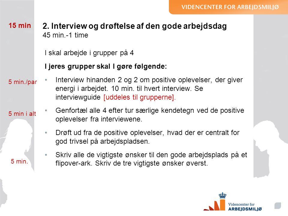 2. Interview og drøftelse af den gode arbejdsdag 45 min.-1 time