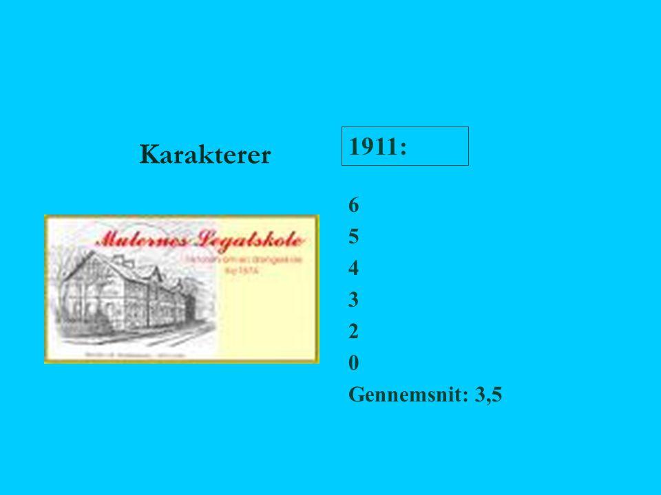Karakterer 1911: 6 5 4 3 2 Gennemsnit: 3,5