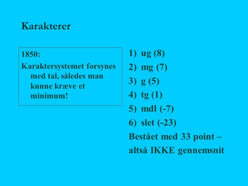 Karakterer ug (8) mg (7) g (5) tg (1) mdl (-7) slet (-23)