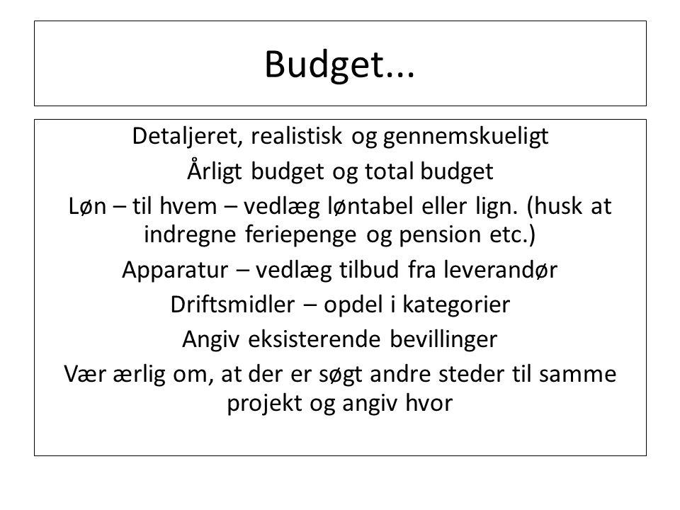 Budget... Detaljeret, realistisk og gennemskueligt