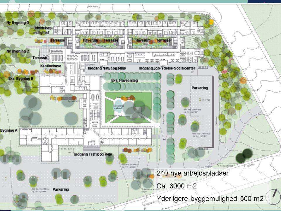 240 nye arbejdspladser Ca. 6000 m2 Yderligere byggemulighed 500 m2