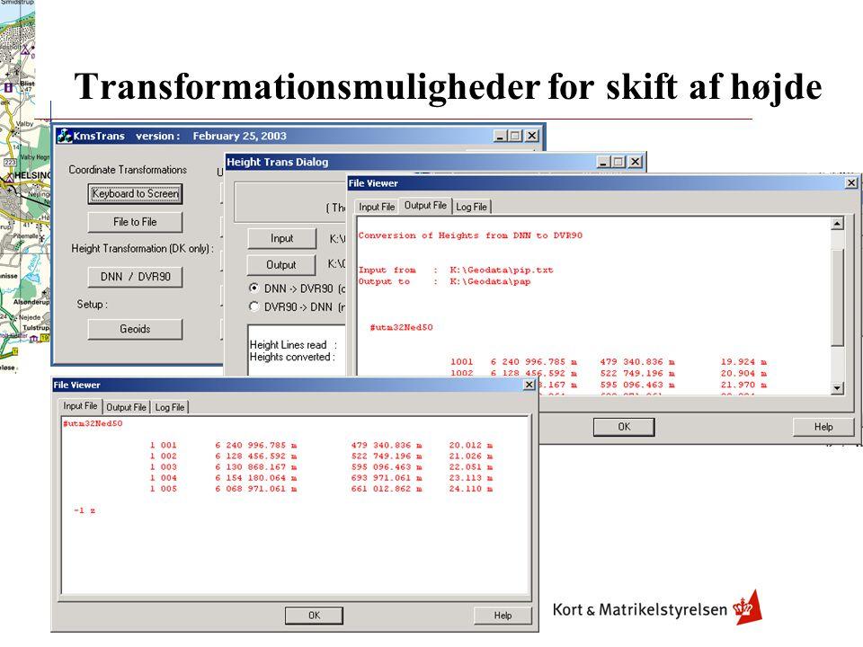 Transformationsmuligheder for skift af højde