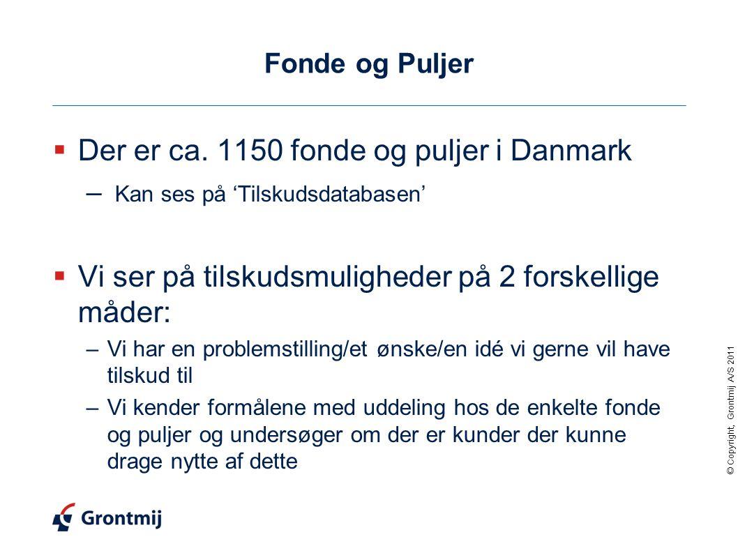 Der er ca. 1150 fonde og puljer i Danmark