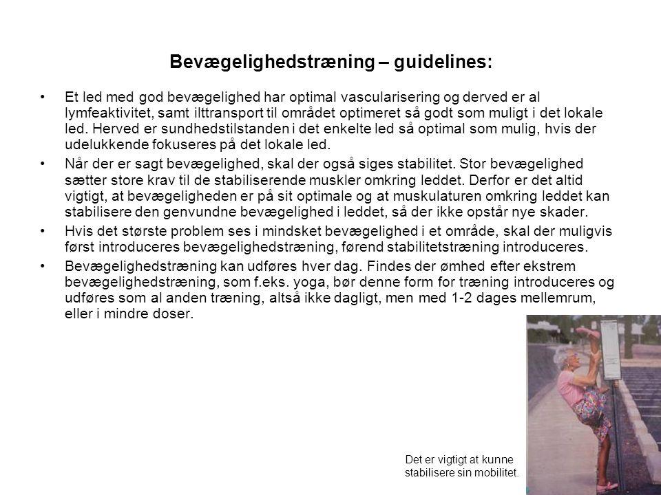 Bevægelighedstræning – guidelines: