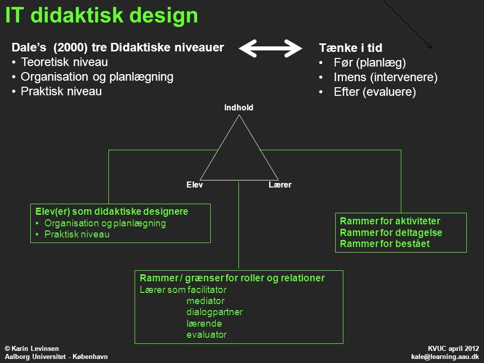 IT didaktisk design Dale's (2000) tre Didaktiske niveauer Tænke i tid