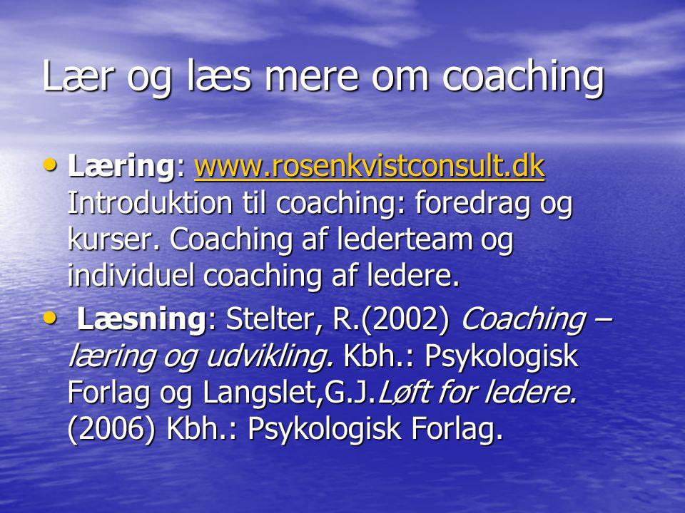 Lær og læs mere om coaching