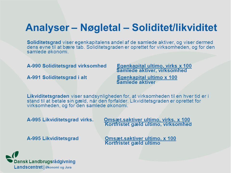 Analyser – Nøgletal – Soliditet/likviditet