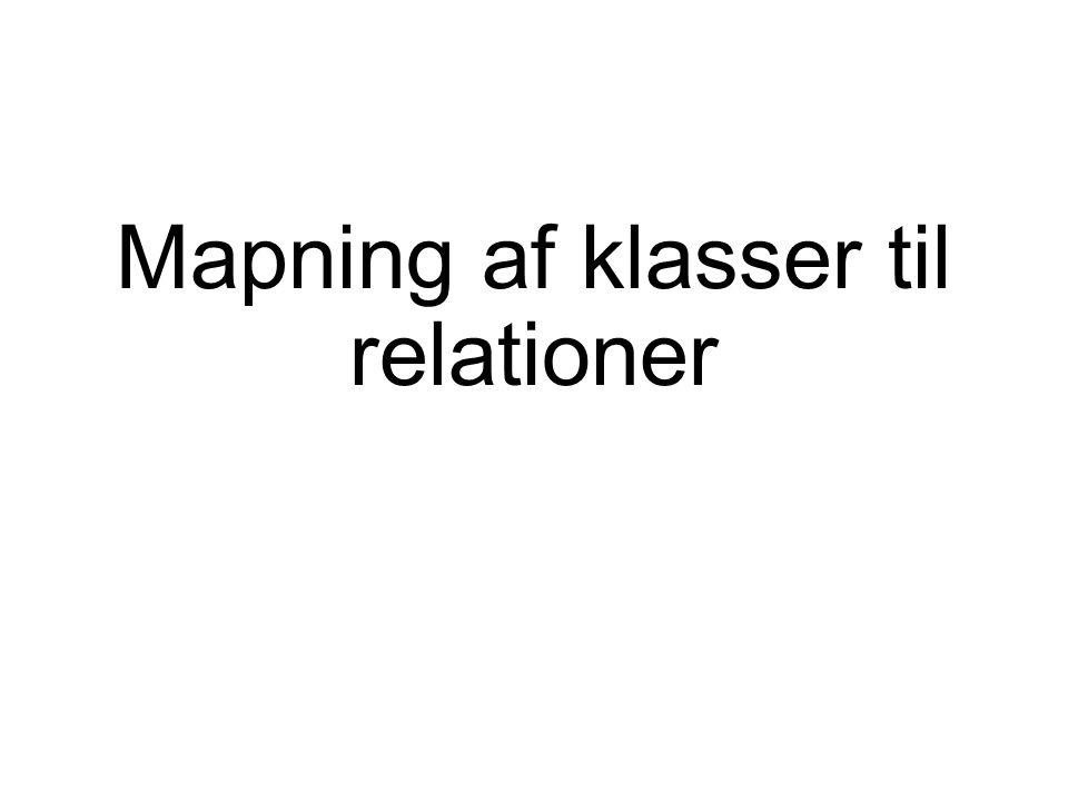 Mapning af klasser til relationer