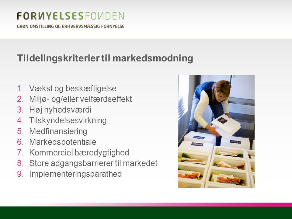 Tildelingskriterier til markedsmodning