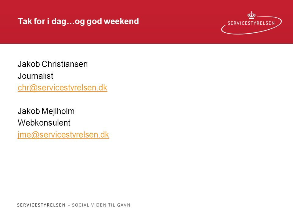 Tak for i dag…og god weekend