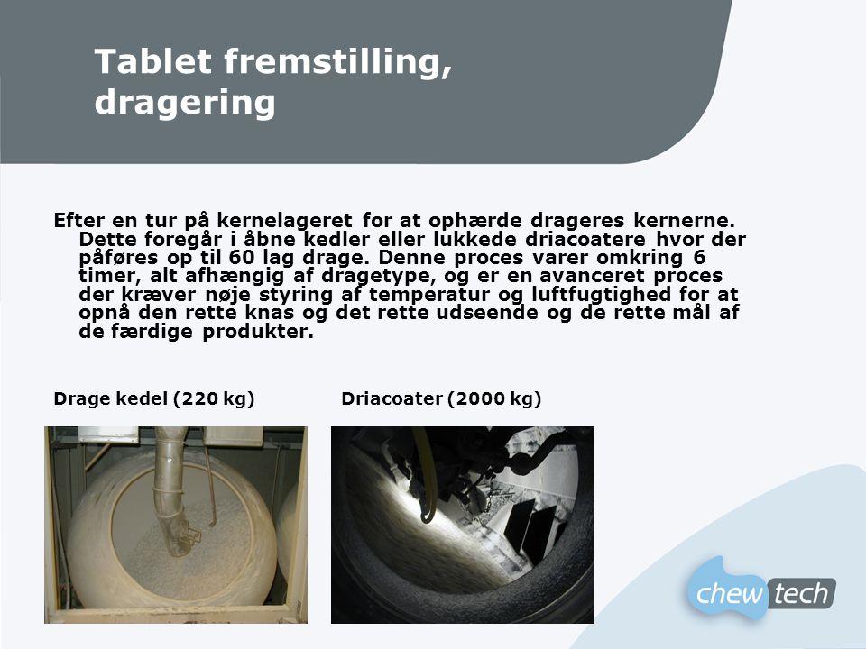 Tablet fremstilling, dragering