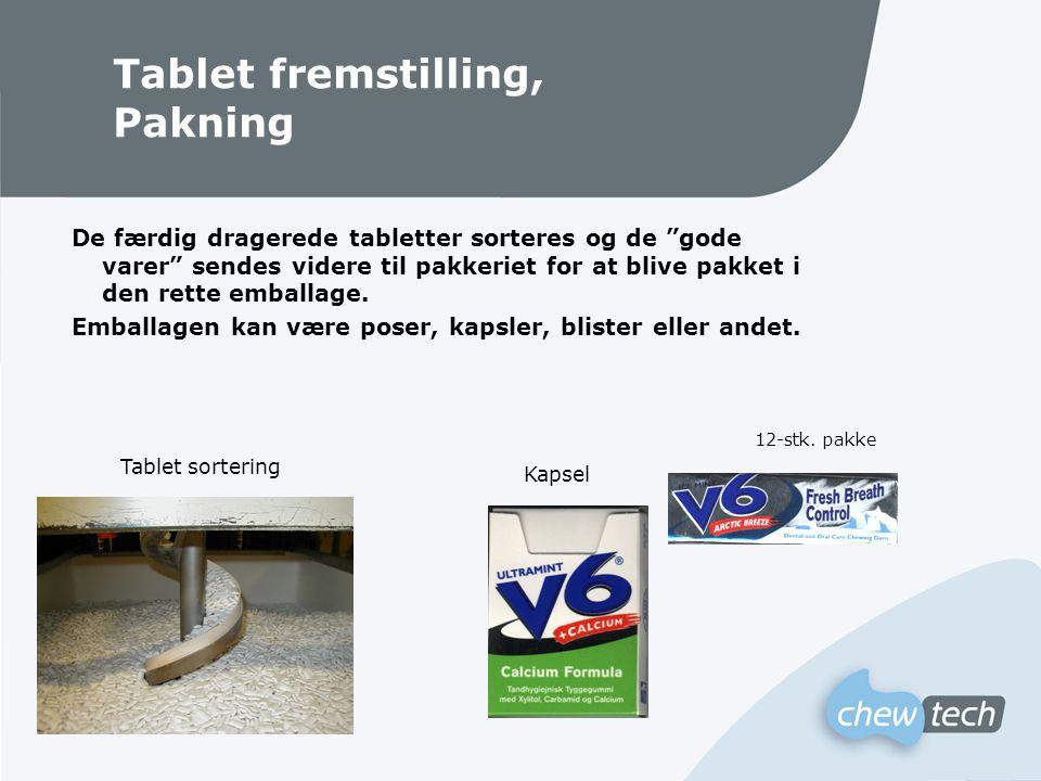 Tablet fremstilling, Pakning