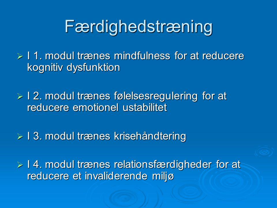 Færdighedstræning I 1. modul trænes mindfulness for at reducere kognitiv dysfunktion.