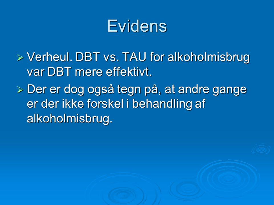 Evidens Verheul. DBT vs. TAU for alkoholmisbrug var DBT mere effektivt.