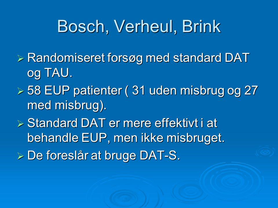 Bosch, Verheul, Brink Randomiseret forsøg med standard DAT og TAU.