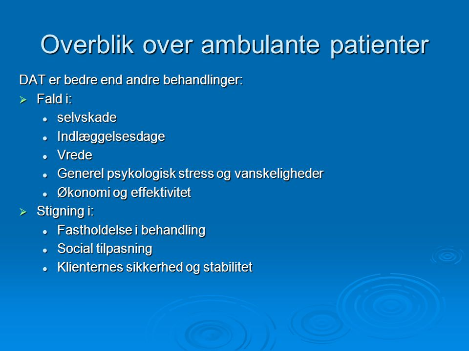 Overblik over ambulante patienter