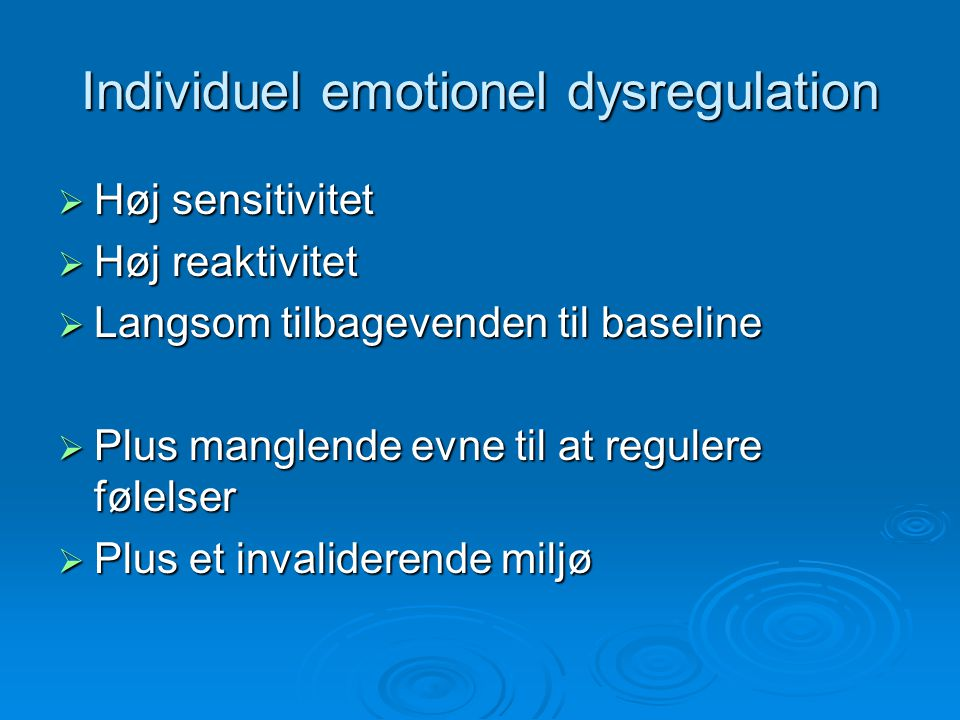 Individuel emotionel dysregulation