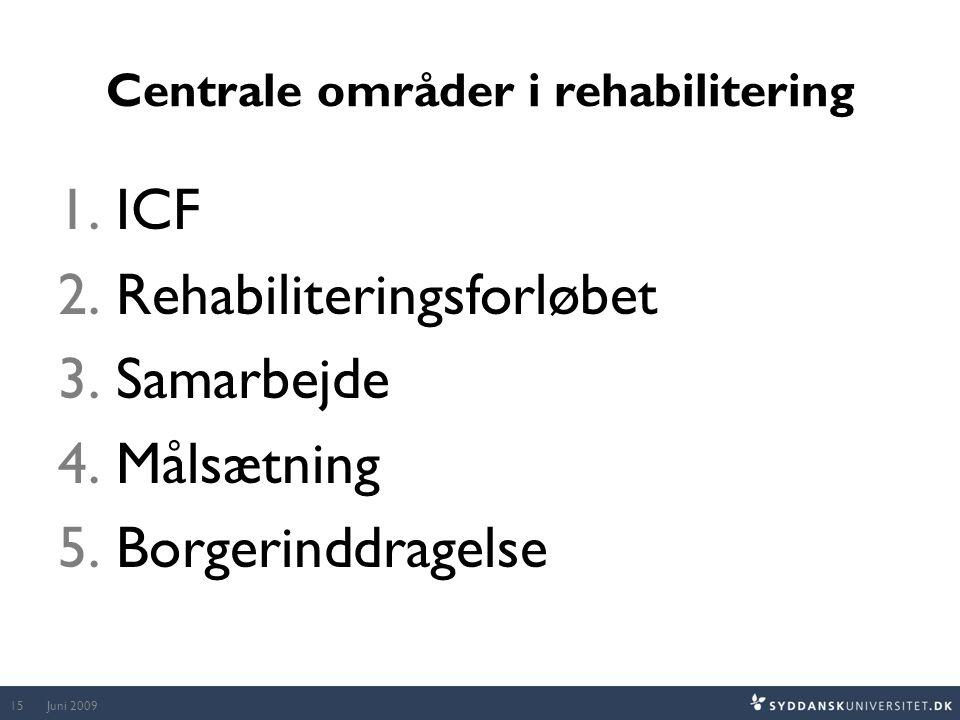 Centrale områder i rehabilitering