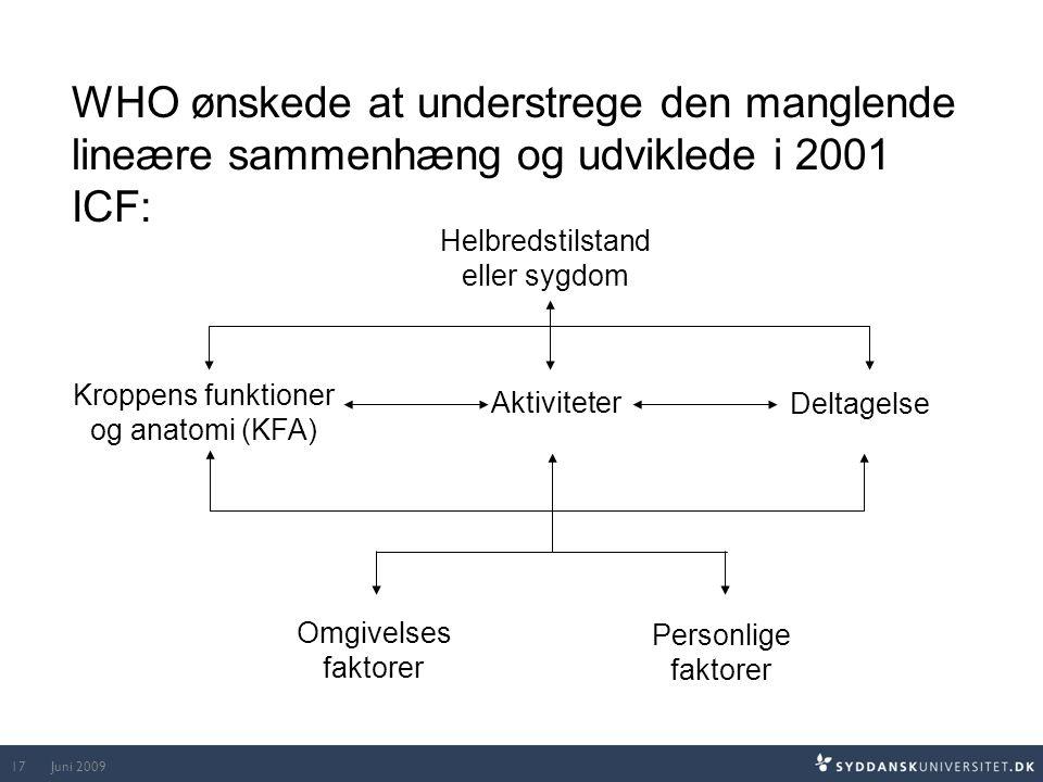 WHO ønskede at understrege den manglende lineære sammenhæng og udviklede i 2001 ICF: