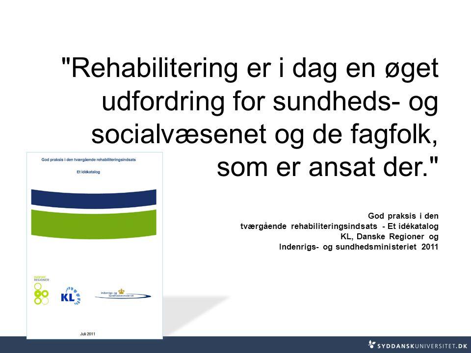 Rehabilitering er i dag en øget udfordring for sundheds- og socialvæsenet og de fagfolk, som er ansat der.