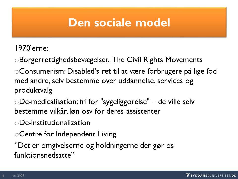 Den sociale model 1970'erne: