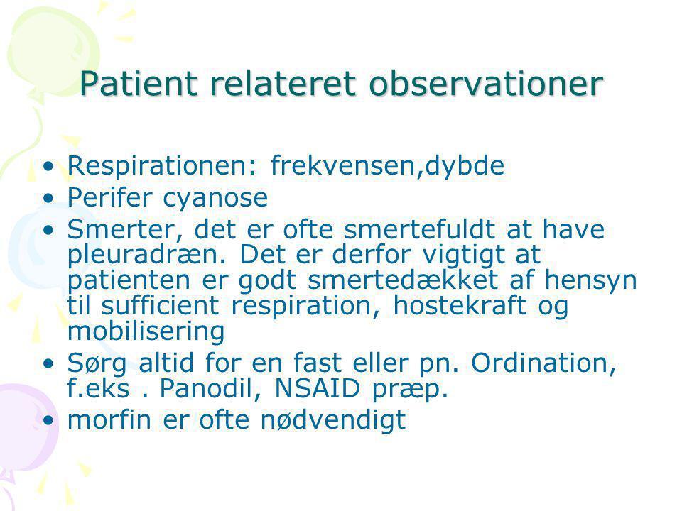 Patient relateret observationer