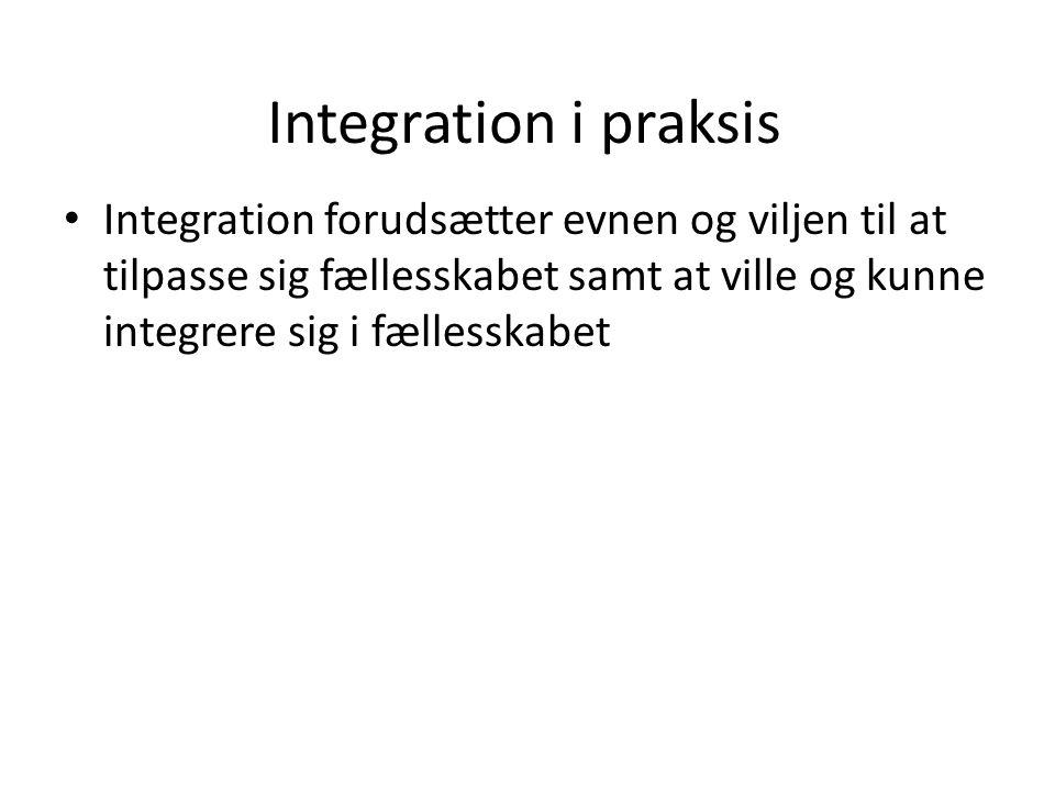 Integration i praksis Integration forudsætter evnen og viljen til at tilpasse sig fællesskabet samt at ville og kunne integrere sig i fællesskabet.
