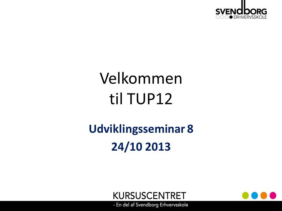 Velkommen til TUP12 Udviklingsseminar 8 24/10 2013