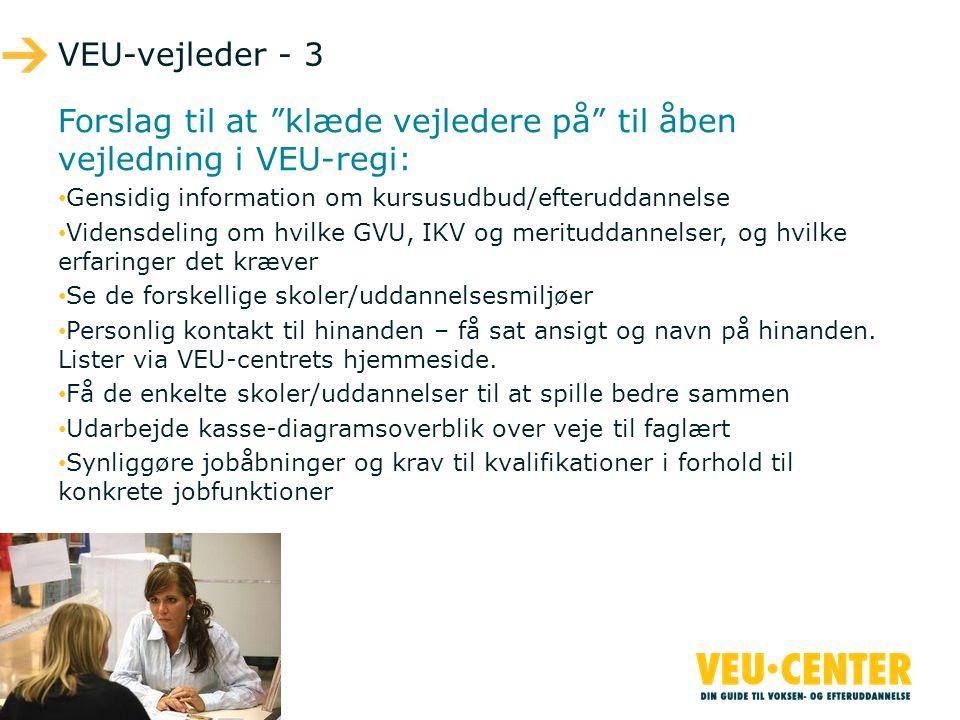 Forslag til at klæde vejledere på til åben vejledning i VEU-regi: