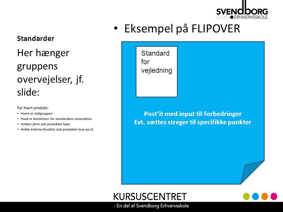 Eksempel på FLIPOVER Her hænger gruppens overvejelser, jf. slide: