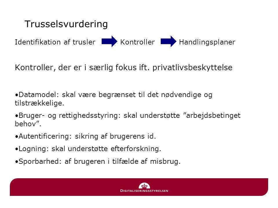Trusselsvurdering Identifikation af trusler Kontroller Handlingsplaner.