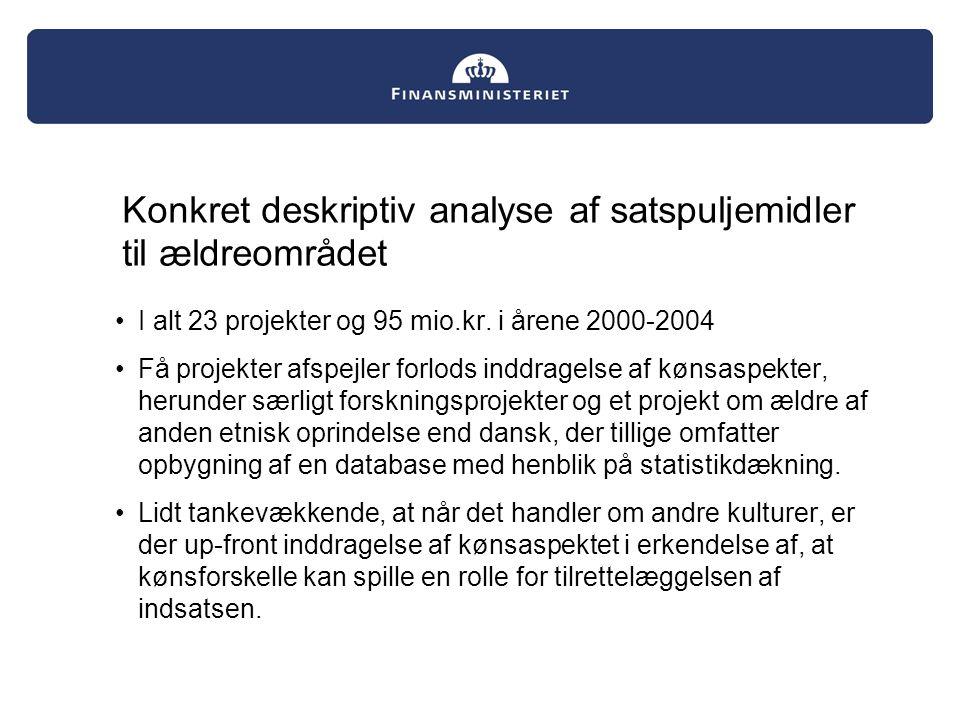 Konkret deskriptiv analyse af satspuljemidler til ældreområdet