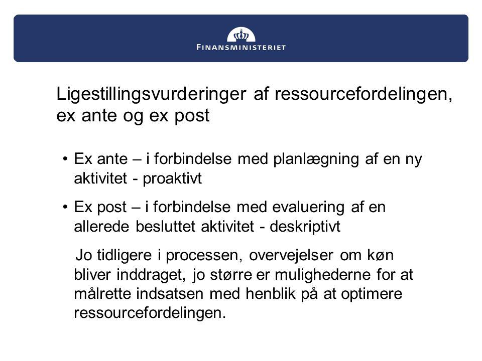 Ligestillingsvurderinger af ressourcefordelingen, ex ante og ex post