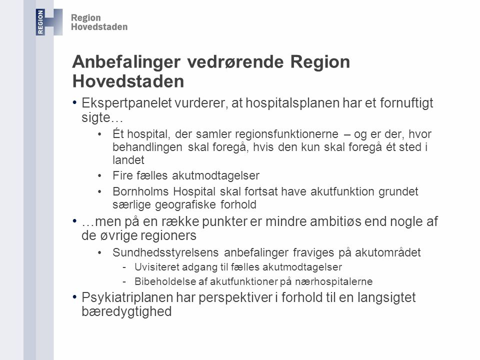 Anbefalinger vedrørende Region Hovedstaden
