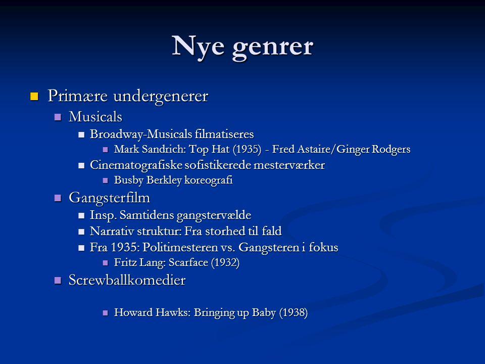 Nye genrer Primære undergenerer Musicals Gangsterfilm