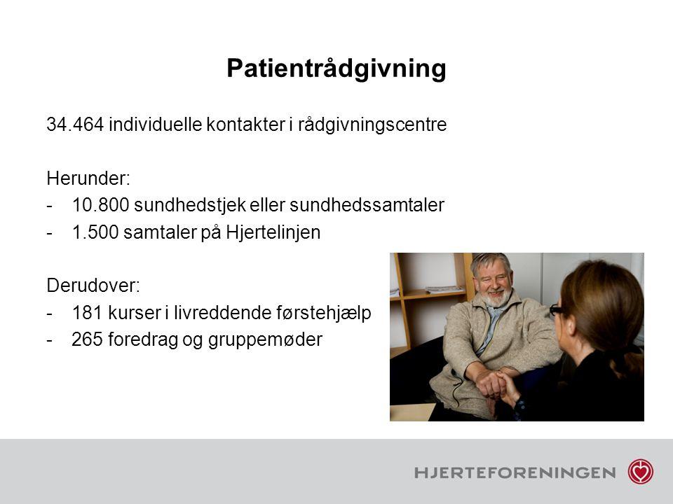 Patientrådgivning 34.464 individuelle kontakter i rådgivningscentre