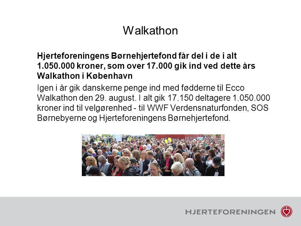 Walkathon Hjerteforeningens Børnehjertefond får del i de i alt 1.050.000 kroner, som over 17.000 gik ind ved dette års Walkathon i København.