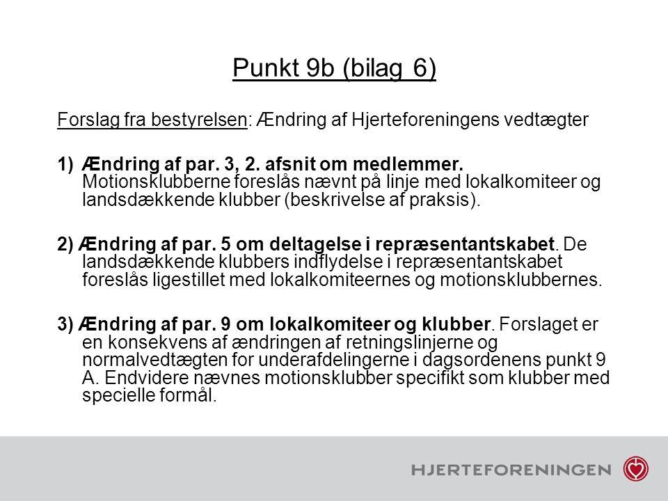 Punkt 9b (bilag 6) Forslag fra bestyrelsen: Ændring af Hjerteforeningens vedtægter.