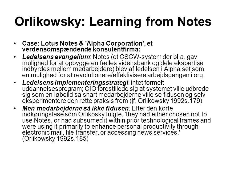 Orlikowsky: Learning from Notes