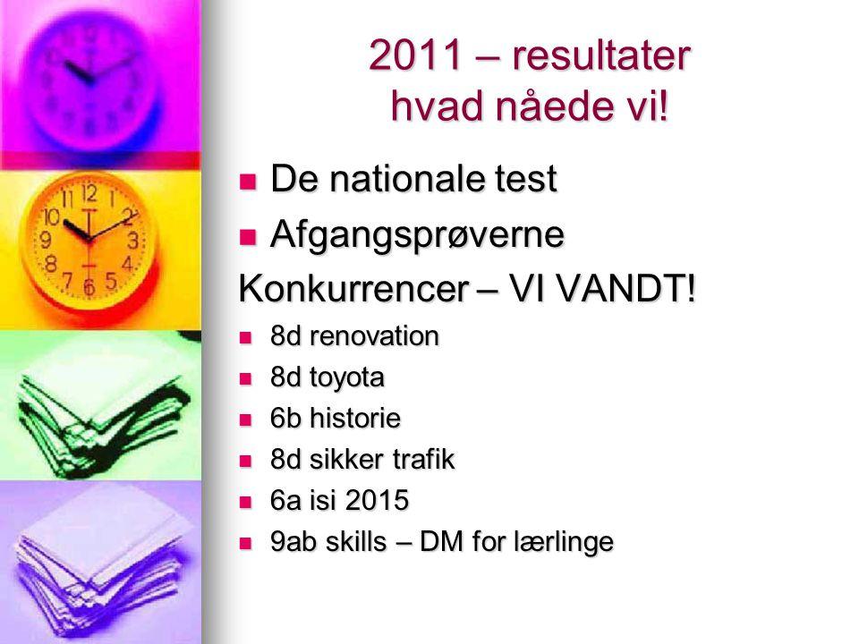 2011 – resultater hvad nåede vi!