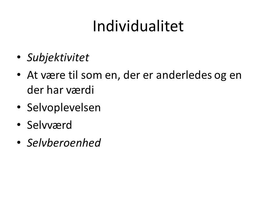 Individualitet Subjektivitet