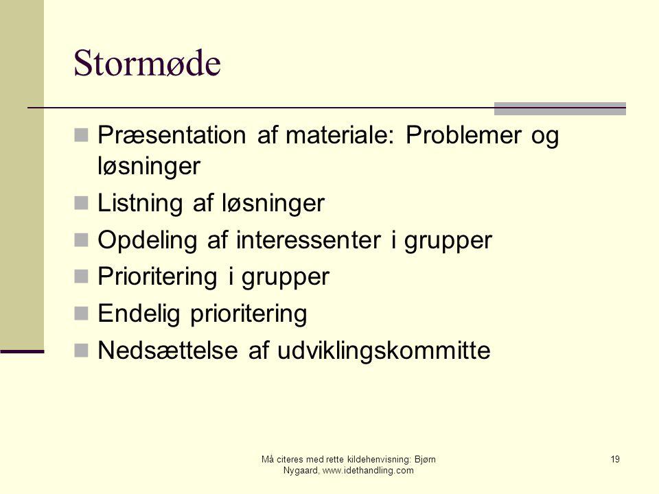 Stormøde Præsentation af materiale: Problemer og løsninger