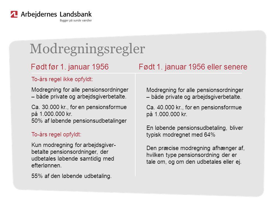 Modregningsregler Født før 1. januar 1956
